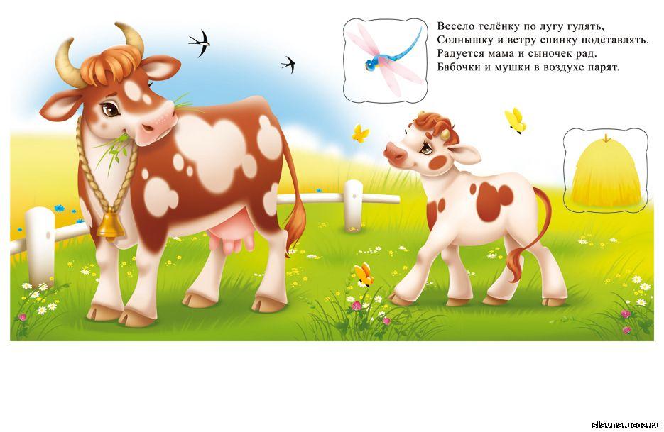 Картинки, корова с телятами картинки для детей